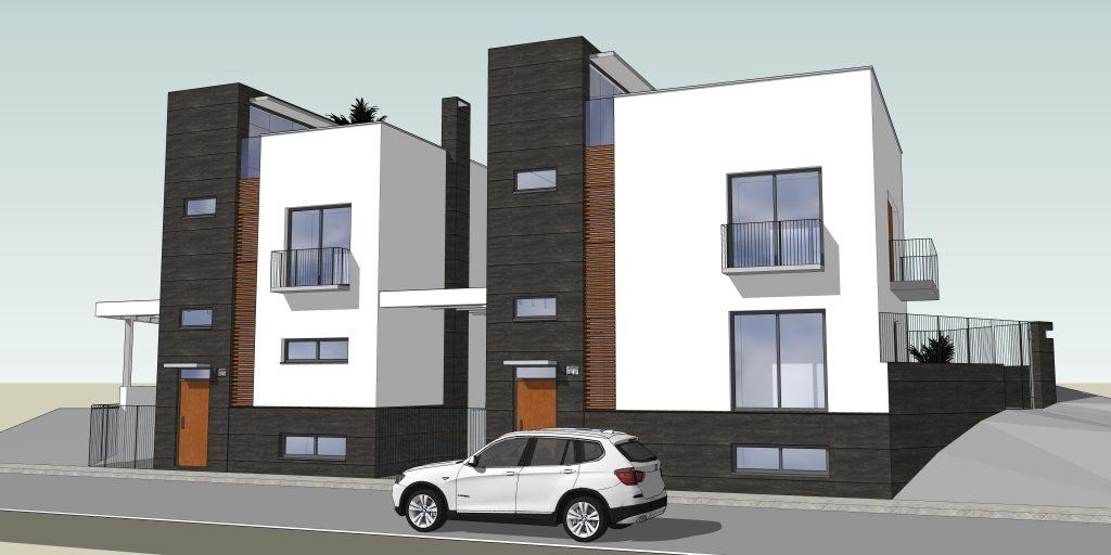 perspectiva de dos viviendas en Guadix